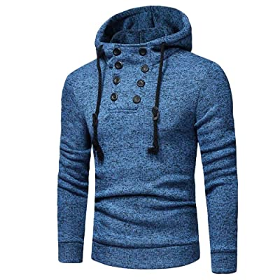 HDGTSA Men's Hooded Sweatshirt Long Sleeve Hoodie Pullover Button Cap Casual Suits Blouse Top at Men's Clothing store