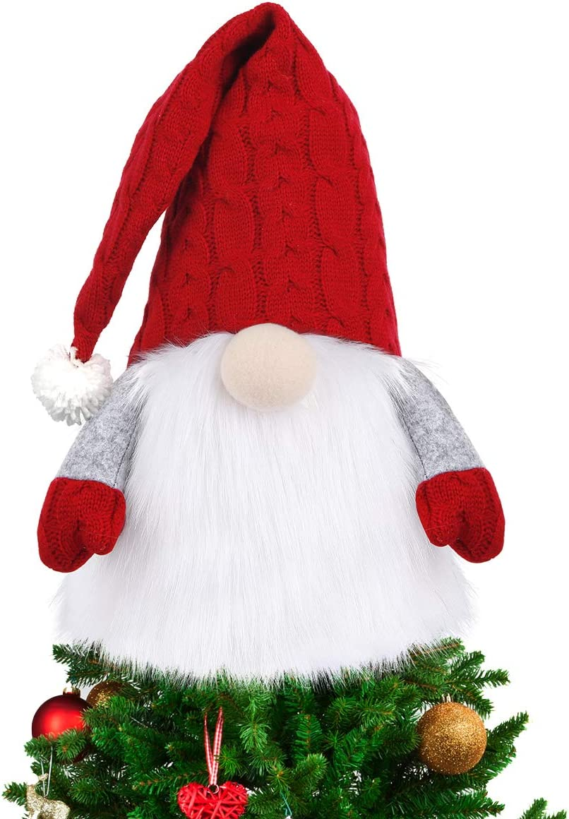 D-FantiX Gnome Christmas Tree Topper, 27.5 Inch Large Swedish Tomte Gnome Christmas Ornaments Santa Gnomes Plush Scandinavian Christmas Decorations Holiday Home Décor with Red Knitted Hat