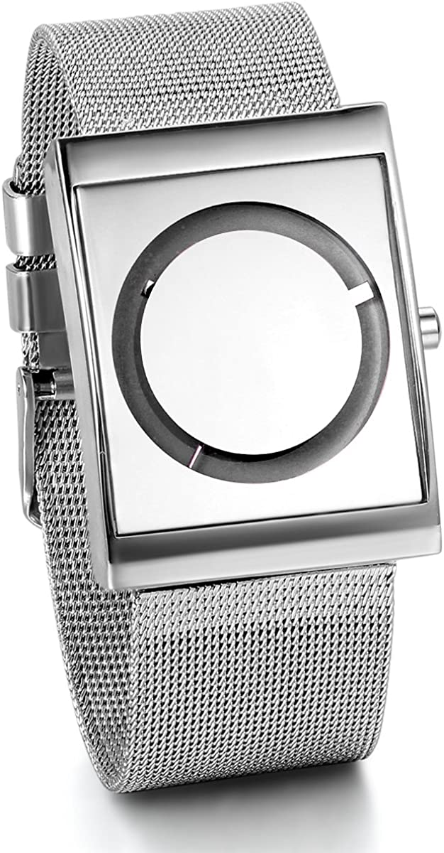 JewelryWe Simple Square Watch Metal Mesh Band Square Watch Mens Womens Wrist Watch Mothers Day Gift