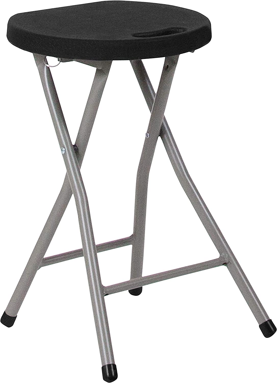 Flash Furniture Foldable Stool with Black Plastic Seat and Titanium Gray Frame