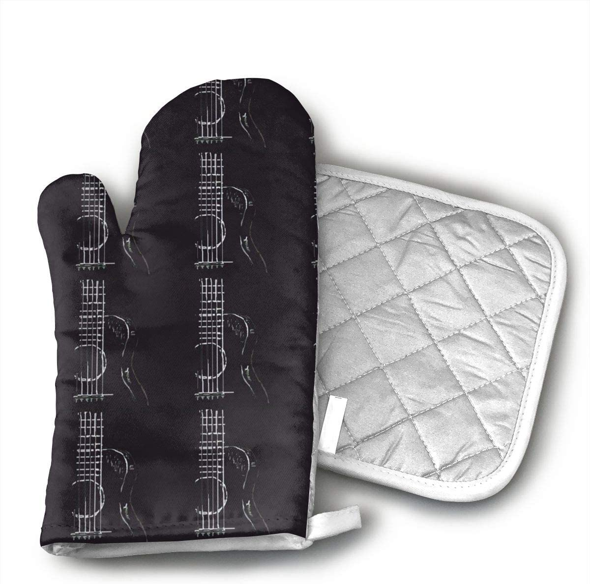 Jiqnajn6 Music Accoustic Guitar Oven Mitts,Heat Resistant Oven Gloves, Safe Cooking Baking, Grilling, Barbecue, Machine Washable,Pot Holders.