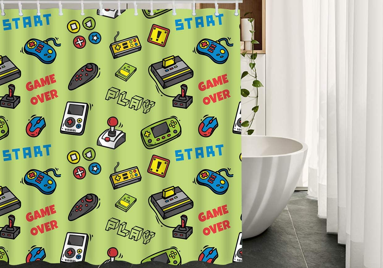 Amazon.com: HGOD DESIGNS Game Shower Curtain,Video Game Doodle