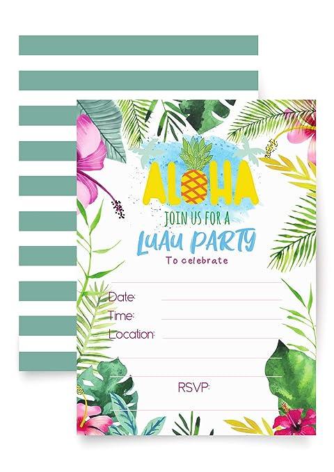 Tarjeta De Invitación Para Fiestas Hawaianas Luau 20