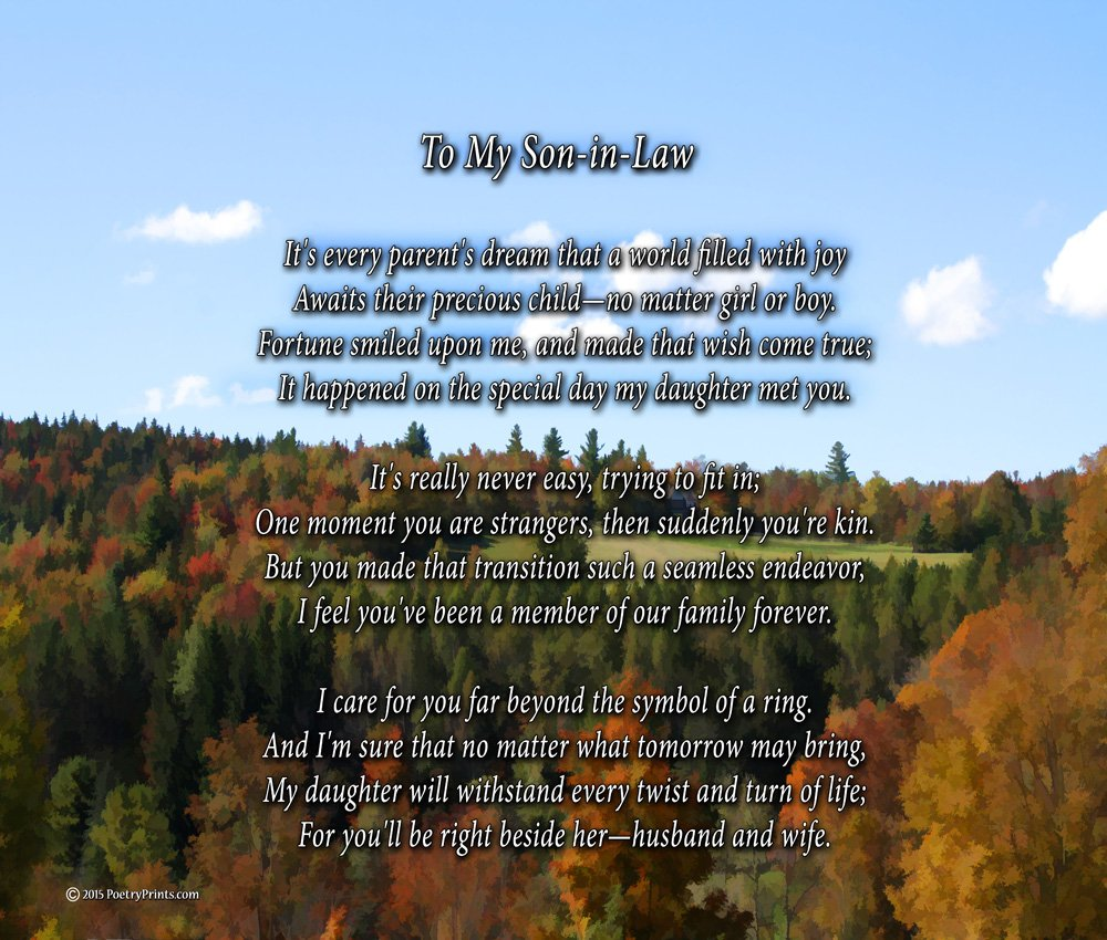 Amazon To My Son In Law Poem Print 8x10 Beautiful Son In