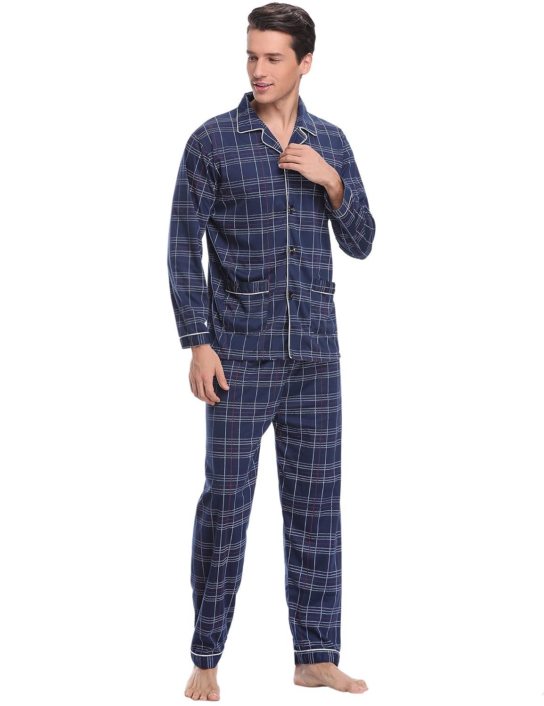 Aibrou Herren Baumwolle Pyjama Set, Einfarbiger Zweiteiliger Schlafanzug Langarm Shirt und Pyjamahose