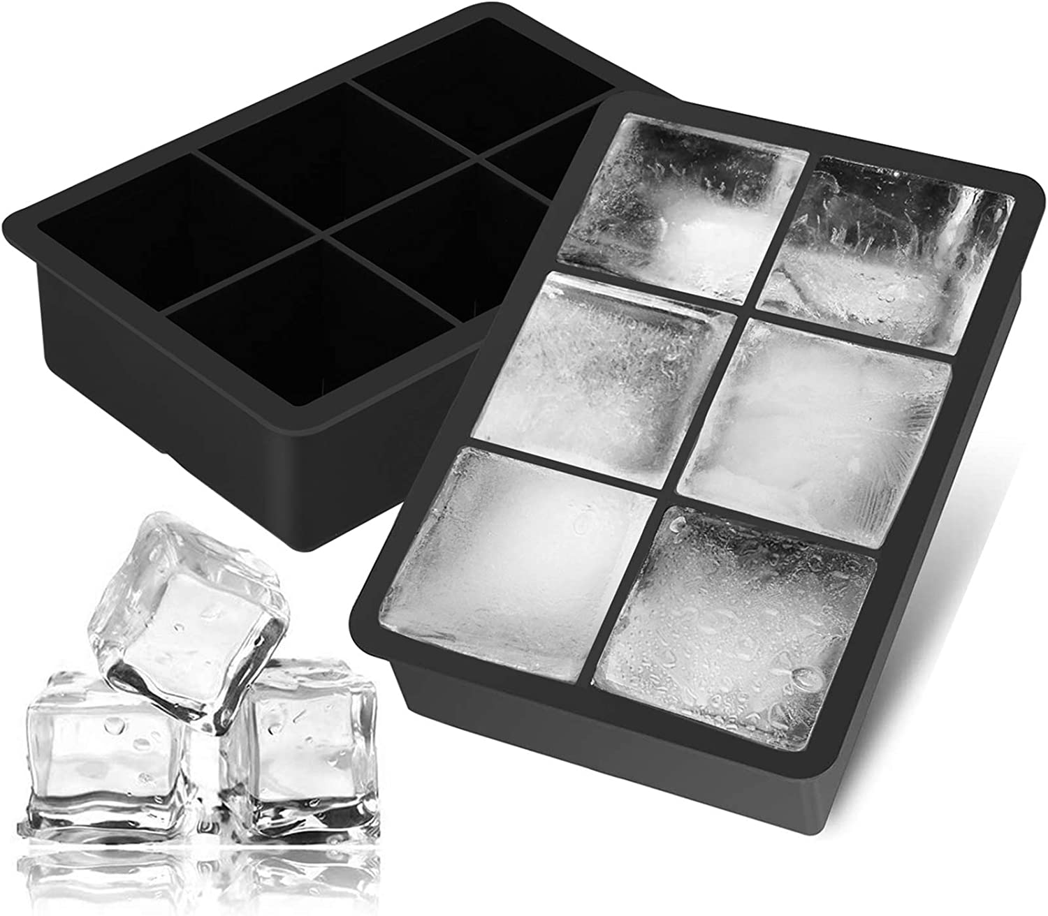Ice Cube Trays 2 Pack, Morfone Silicone Ice Trays with Lid Easy-Release Flexible Large Square Ice Molds 6 Cubes per Tray for Whiskey, Cocktail, Soda, Baby Food, BPA Free and LFGB Certified