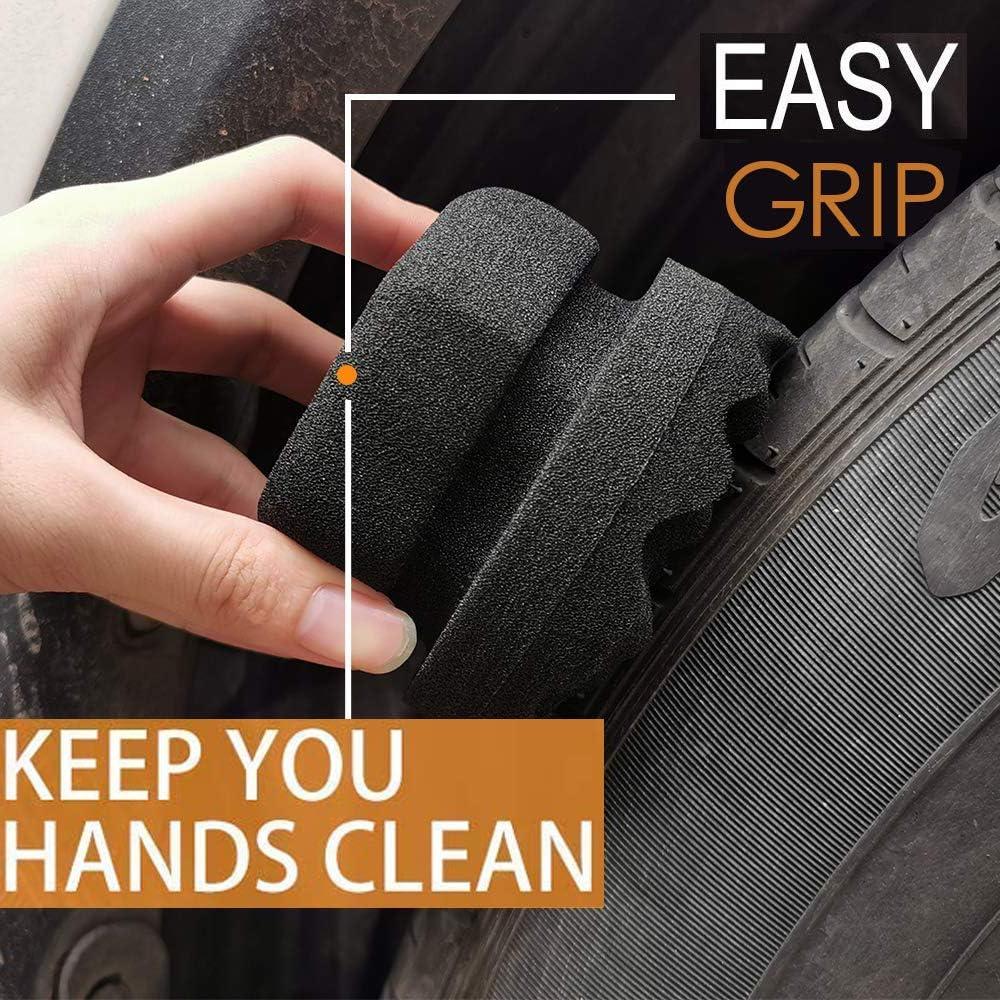 Leiwoor Lot de 2 applicateurs de d/écapage de pneus,poign/ée ronde ergonomique et design ondul/é profond pour atteindre la garniture rend le nettoyage des pneus plus facile,lavable et r/éutilisable