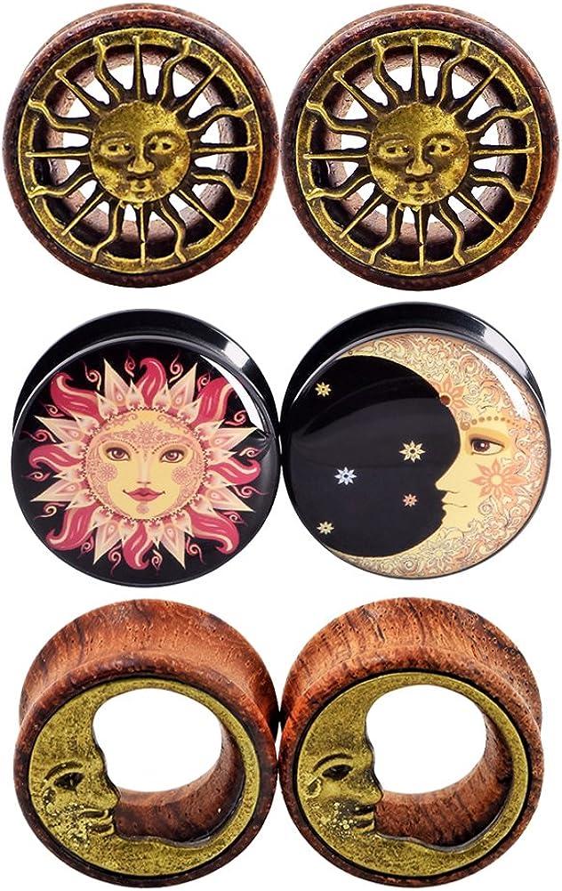 Qmcandy 0g-3/4 in Sun Moon Organic Wood & Acrylic Screw Ear Tunnels Plugs Expander Set