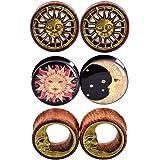 "D&M Jewelry 6pcs 0G-3/4"" Sun Moon Organic Wood & Acrylic Screw Ear Tunnels Plugs Expander Set"