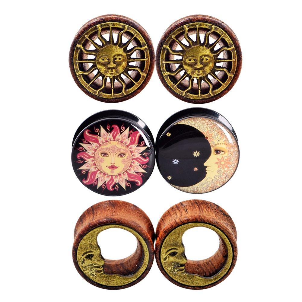 D&M Jewelry 6pcs 00G Sun Moon Organic Wood & Acrylic Screw Ear Tunnels Plugs Expander Set