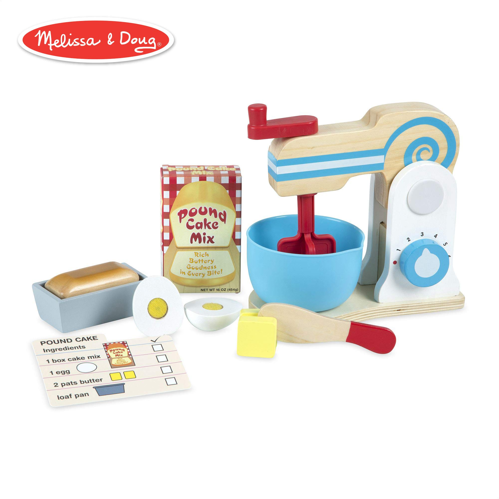 Melissa & Doug Wooden Make-a-Cake Mixer Set (Kitchen Toy, Numbered Turning Dials, Encourages Creative Thinking, 11-Piece Set, 13.5″ H × 10″ W × 5″ L)