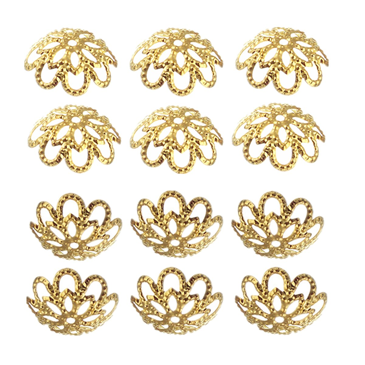 500PCS 10mm Gold Tone Flower Bead Caps Hollow Flower Bead Caps For Jewelry Making (white k) Zhiheng