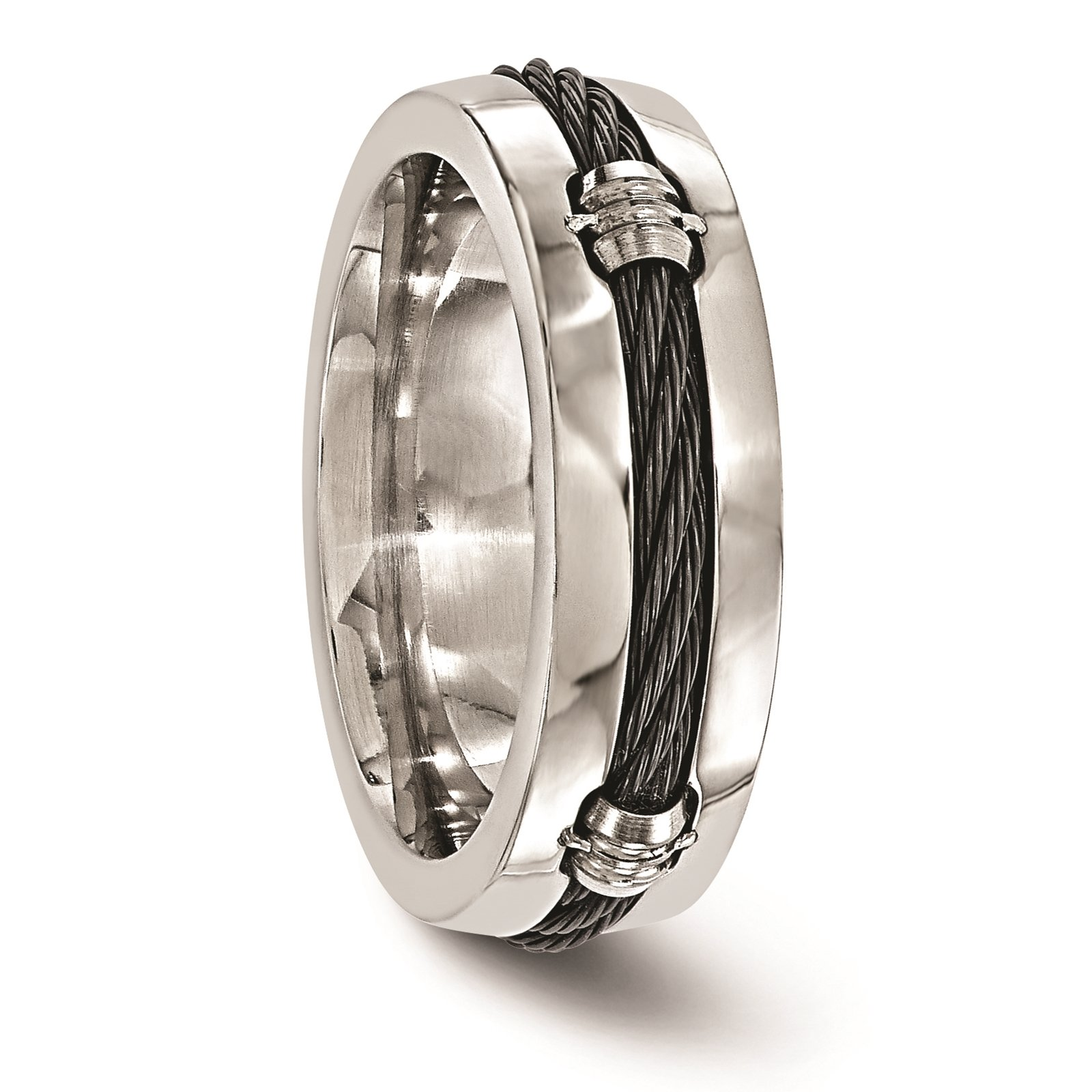 Titanium & Cable Polished 7mm Wedding Ring Band Size 8 by Edward Mirell by Venture Edward Mirell Titanium Bands (Image #4)