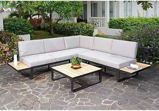 Muebles Outdoor outliv. albuf Eira Lounge esquina 3 piezas aluminio/Acacia capitoné Muebles de Jardín Diseño Jardín Lounge Modern resistente a la intemperie: Amazon.es: Jardín