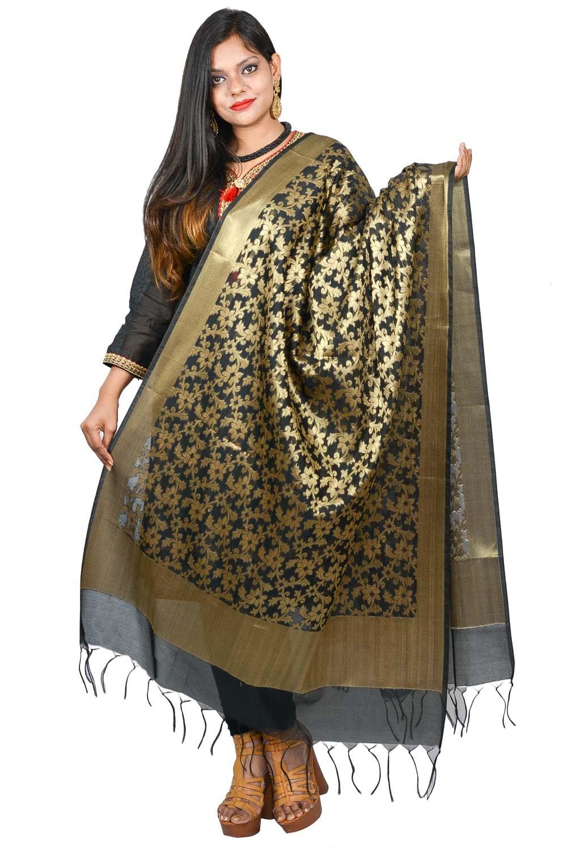 Traditional Black Dupatta Banarasi Floral Pattern Indian Scarf Shawl Chunni Wrap Hijab For Women Girls