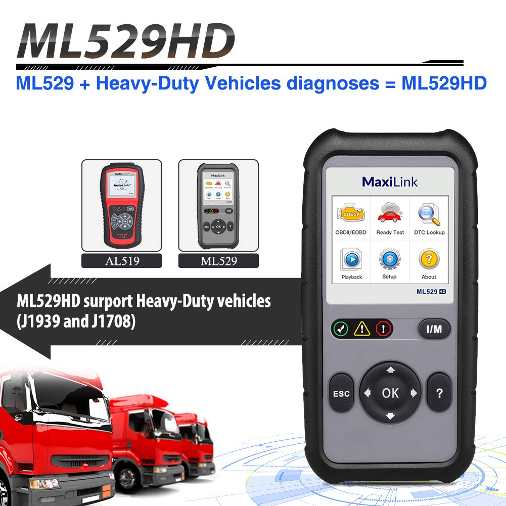 with Enhanced Mode 6//One-Key Ready Test for Heavy-Duty J1939 /& J1708 Upgraded Version of ML519 Autel ML529HD OBD2 Code Scanner