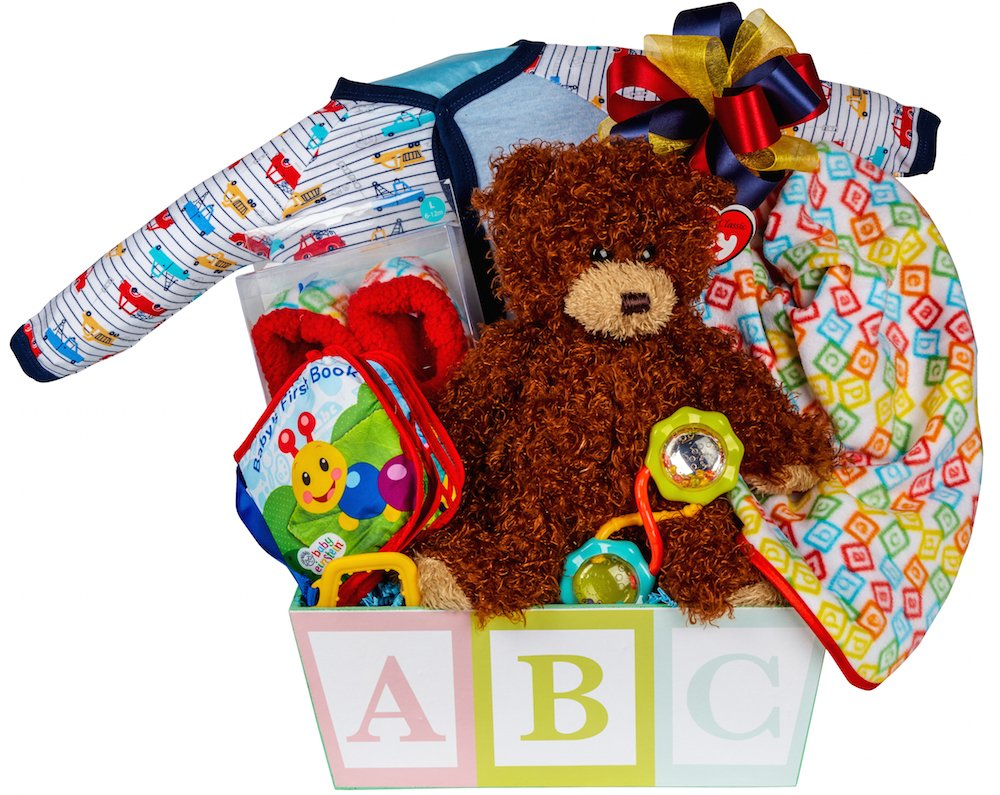 Newborn Baby Boy Gift Basket with Onesie, Blanket and Slipper Set, Plush and Toys Pellatt Cornucopia