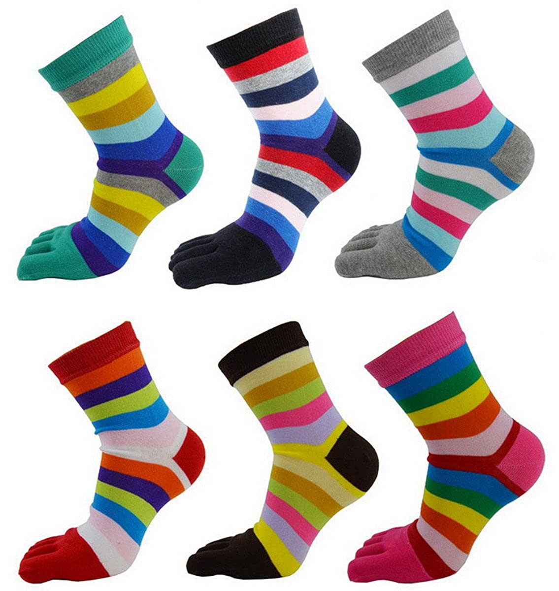 Women's Cute Casual Striped Five Toe Crew Athletic Finger Socks 6-Pack AHA