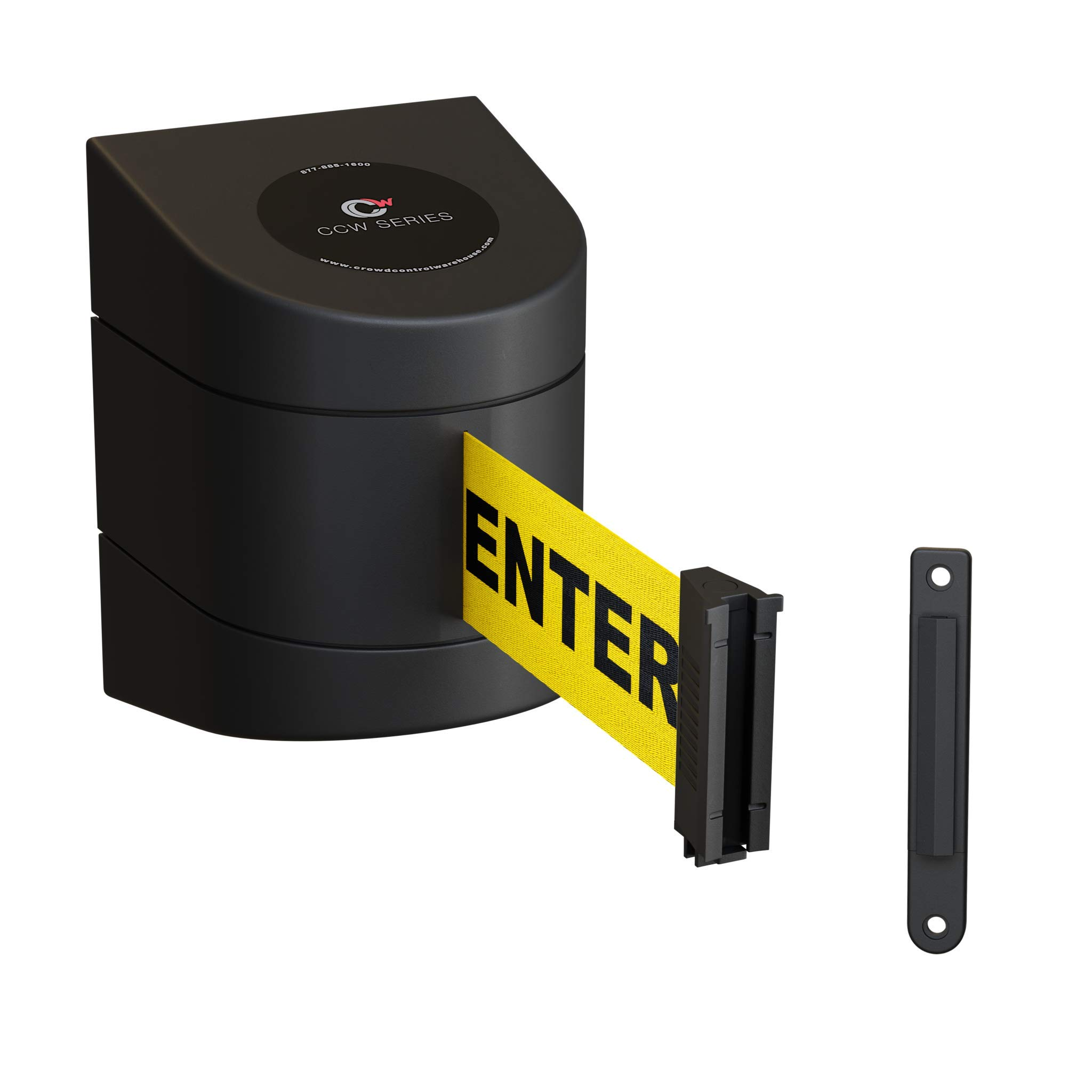 Fixed Wall Mount Retractable Belt Barrier with ABS Case-CCW Series WMB-220 (15 Foot, Caution Do Not Enter Belt with Black ABS Case) by Crowd Control Warehouse