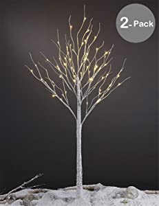 LIGHTSHARE 6 Feet Birch Tree, 72 LED Lights, Warm White, for Home,Set of 2, Festival, Party, and Christmas Decoration, Indoor and Outdoor Use