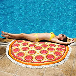 Thick Round Beach Towel Oversized Blanket, Microfiber Fabric with Cotton Tassels Fringe Simulation Food Pizza Mandala Novelty Print 60 Inch Thick Circle Large Sand Proof Tapestry Table Cover Quick