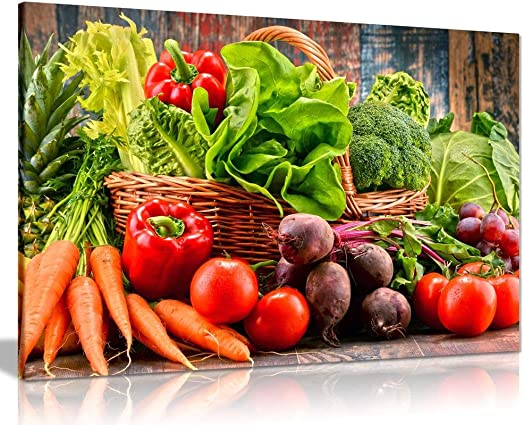 Organic Vegetables Kitchen Canvas Wall Art Picture Print 36×24