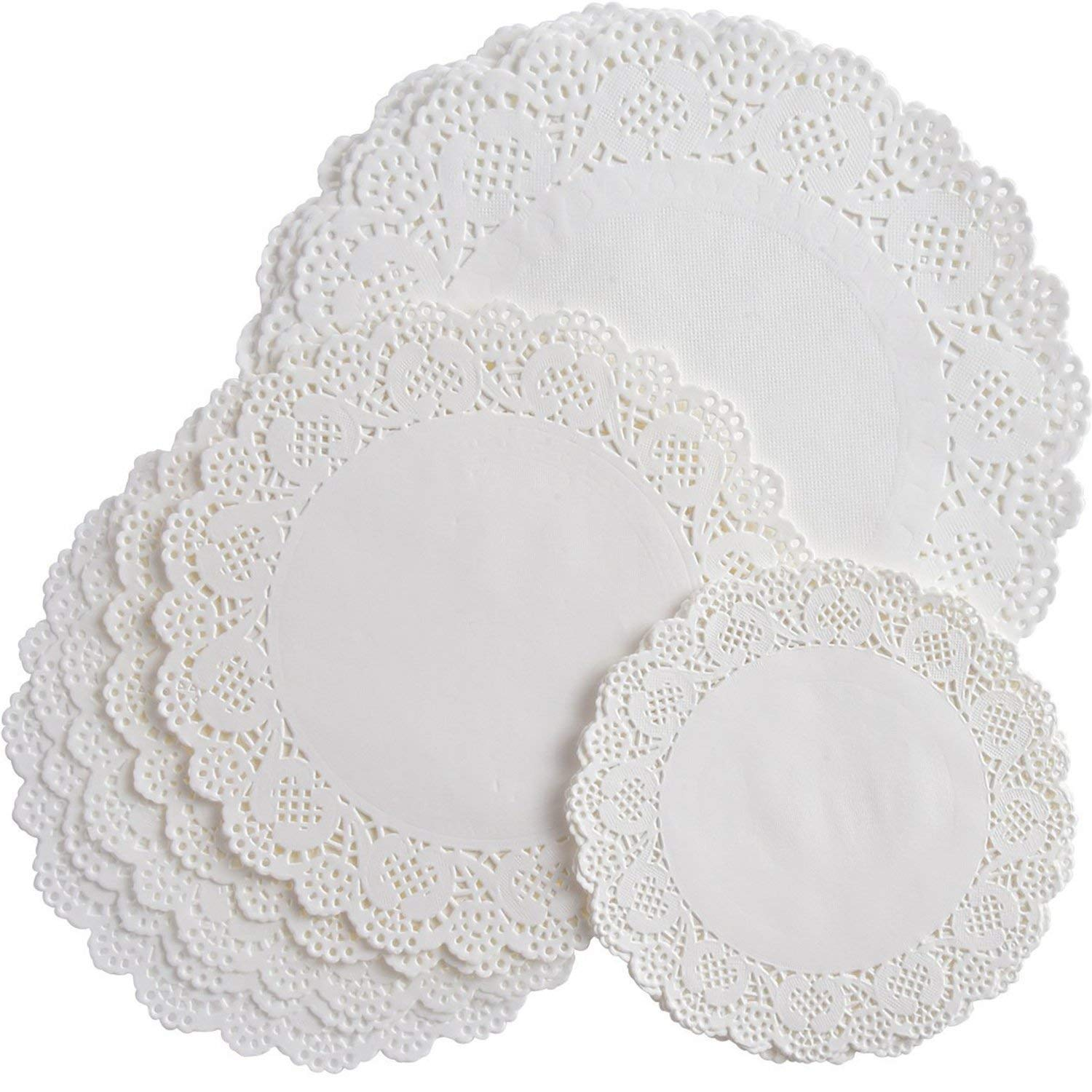 108 Pieces White Round Paper Doilies Lace Doily Cake Packaging Paper Pad for Party Wedding Decorations, 3 Sizes