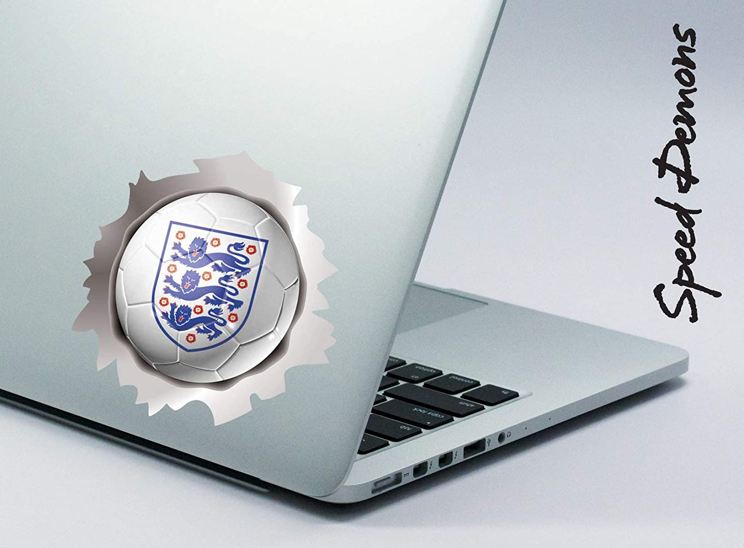 ENGLAND 3 THREE LIONS SPEED DEMONS FOOTBALL BALL PRIDE BURST RIP TORN TEAR STICKER GRAPHIC SELF ADHESIVE FOR ANY SURFACE INCLUDING LAPTOPS AND CARS NO DAMAGE TO PAINTWORK APPROX 145 MM X 145 MM