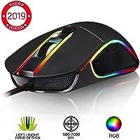 KLIM™ AIM Souris Gamer - Souris de Jeu Chroma RGB USB Filaire - 500-7000 DPI - Boutons Programmables - Confortable pour Toute Taille de Main Ambidextre Excellent Grip Gaming PC PS4 Xbox One - Noir