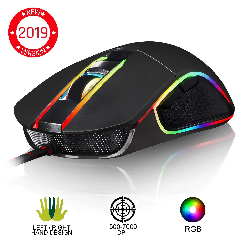 KLIM™ AIM Souris Gamer - Souris de Jeu Chroma RGB USB Filaire - 500-7000 DPI - Boutons Programmables - Confortable pour Toute Taille de Main Ambidextre Excellent Grip Gaming PC PS4 Xbox One - Noir product image