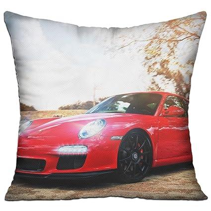 Porsche coche coches rojo comodidad decorativo fundas de almohada de 18 in X 18 in (