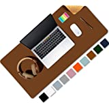 Aothia Office Desk Pad, Natural Cork & PU Leather Dual Side Large Mouse Pad, Laptop Desk Table Protector Writing Mat Easy Cle