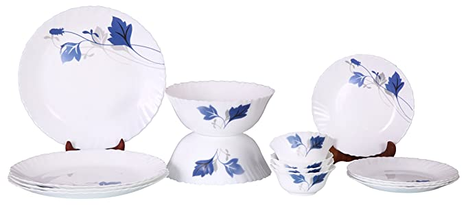 Larah By Borosil Ageria Opalware Glass Dinner Set, 14-Pieces, White