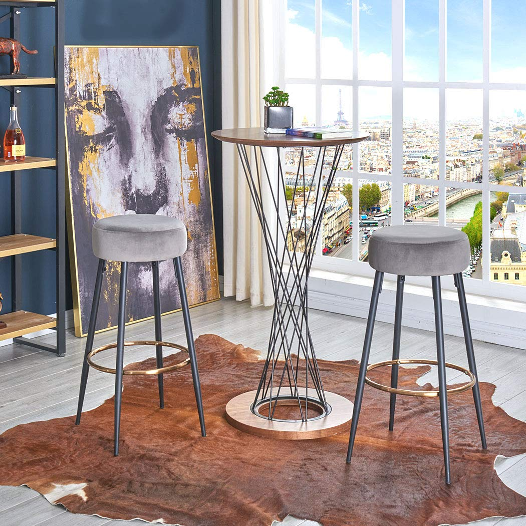 Duhome Bar Stools Set of 2,Velvet Round Kitchen Stools,Industrial Modern Barstool,Bar Chairs for Pub Height Green
