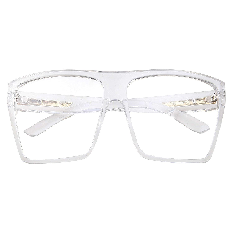 Amazon.com: XL Super Oversized Clear Frame Lens Glasses Flat Top ...