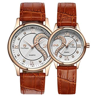 59b918664d Valentines Romantic Rose Golden Pair His and Hers Wrist Watches for Couples ,Fq-102