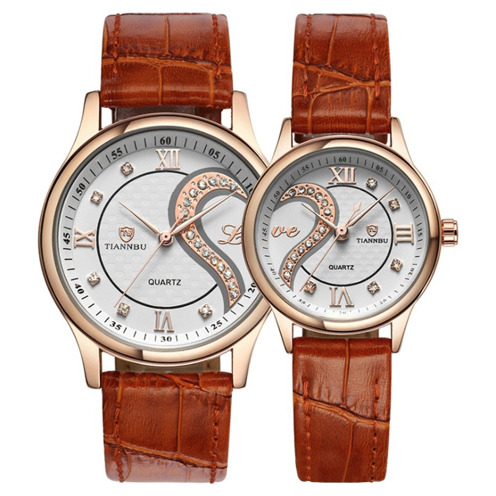 Valentines Romantic Rose Golden Pair His and Hers Wrist Watches for Couples,Fq-102 Ultrathin Brown Leather Strap,Set of 2 Pcs