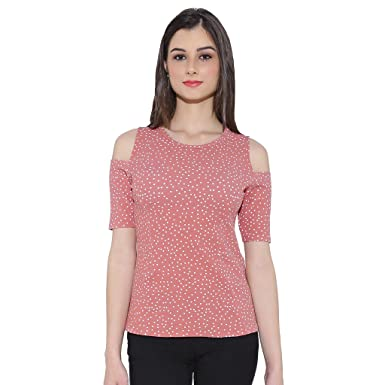 f4dc7a02c8 Chimpaaanzee women Doted Light Pink Cold shoulder Top  Amazon.in  Clothing    Accessories
