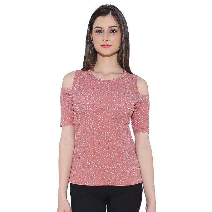 8dea9c026ec5c7 Chimpaaanzee women Doted Light Pink Cold shoulder Top  Amazon.in  Clothing    Accessories