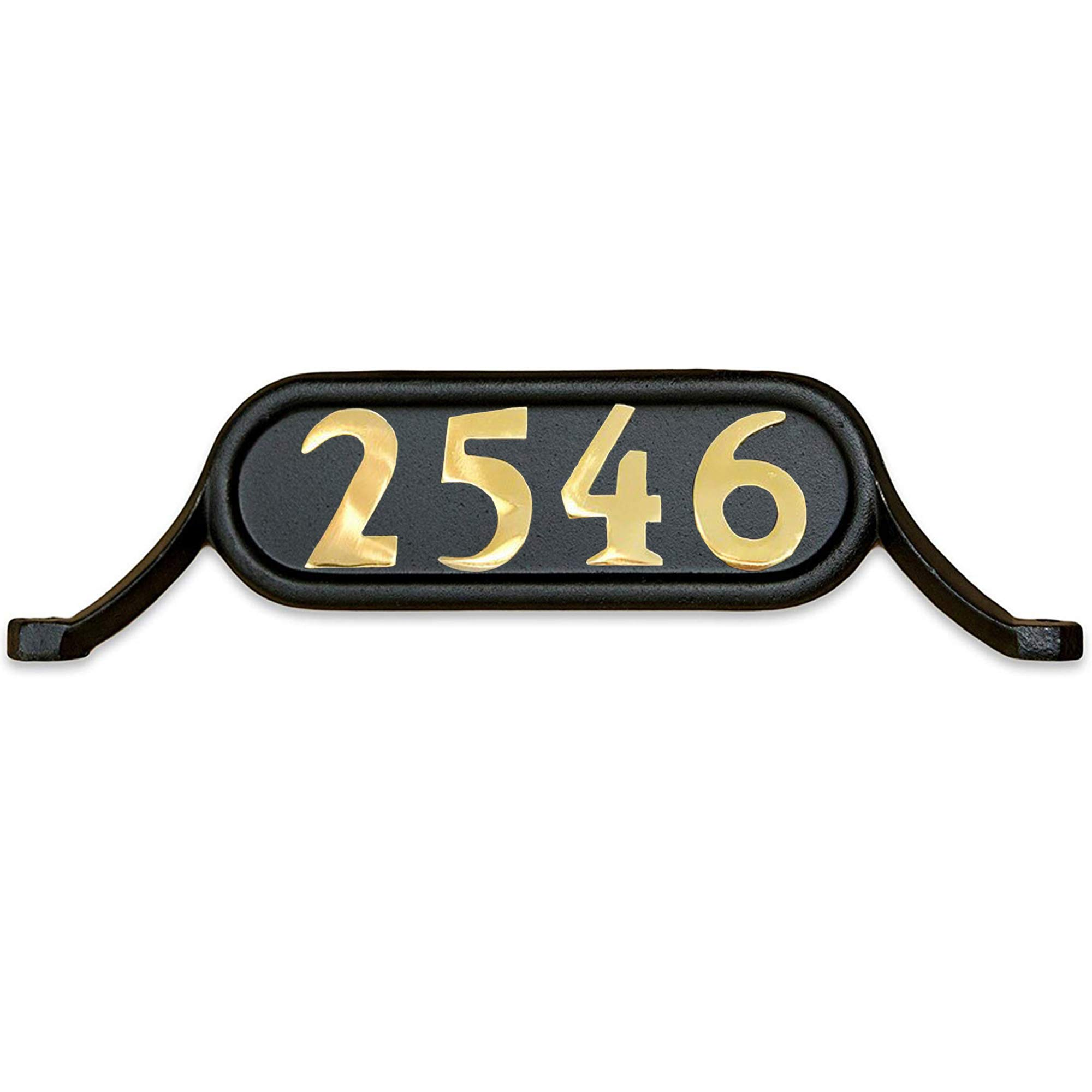 Addresses of Distinction Williamsburg Style 2 Address Plate - Contemporary Plaque for House Numbers - Rust Proof Aluminum Mailbox Topper - Mounting Hardware Included (Solid Brass Numbers)