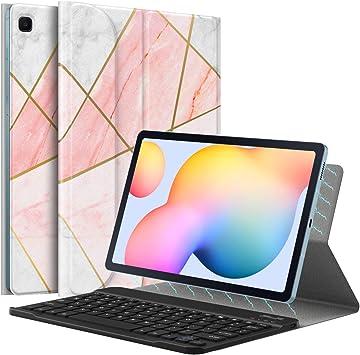 MoKo Funda de Teclado Compatible con Galaxy Tab S6 Lite 10.4 2020 SM-P610/P615, Funda Keyboard de Bluetooth con Cubierta Magnética Plegable con ...