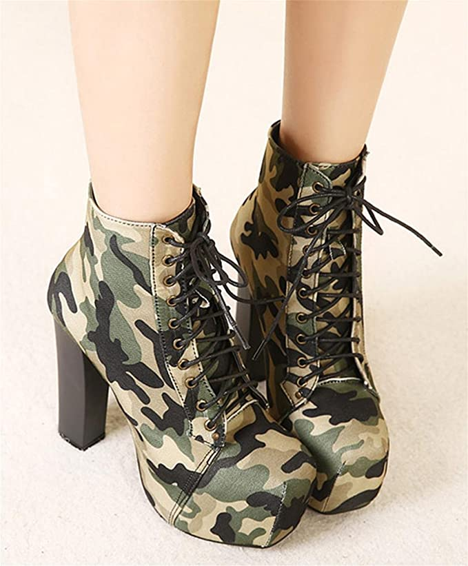 DZW Femmes Vintage Pump Bottes Plateforme Low Top rouge Chaussures Talons Chek , 35 , army green Personnalité