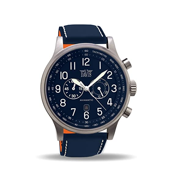Davis 0455 - Reloj para hombre, Aviador Azul de 48mm, cronógrafo Sumergible 50M,