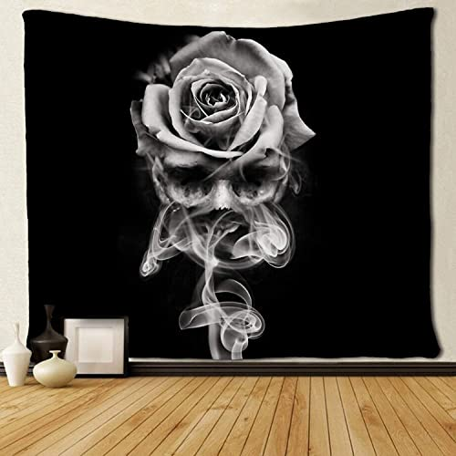 SARA NELL Wall Hanging Tapestry Fire Skull Rose Black and White Tapestries Wall Tapestry Home Decorations for Living Room Bedroom Dorm Decor in 60×90 Inches