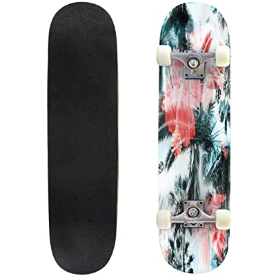 "Blue Palm Trees Seamless Pattern Colorful Background with Tropical Outdoor Skateboard 31""x8"" Pro Complete Skate Board Cruiser 8 Layers Double Kick Concave Deck Maple Longboards for Youths Sports : Sports & Outdoors"