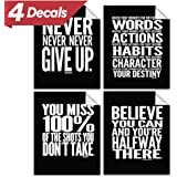 """Motivational Quote Workout Gym Poster - 8"""" x 10"""" - Set of 4 - Classroom Office Wall Art Decals - Inspirational Teen Boy Girl Fitness Success Sports Goal Hard Work Decor - Adhesive Black Finish"""