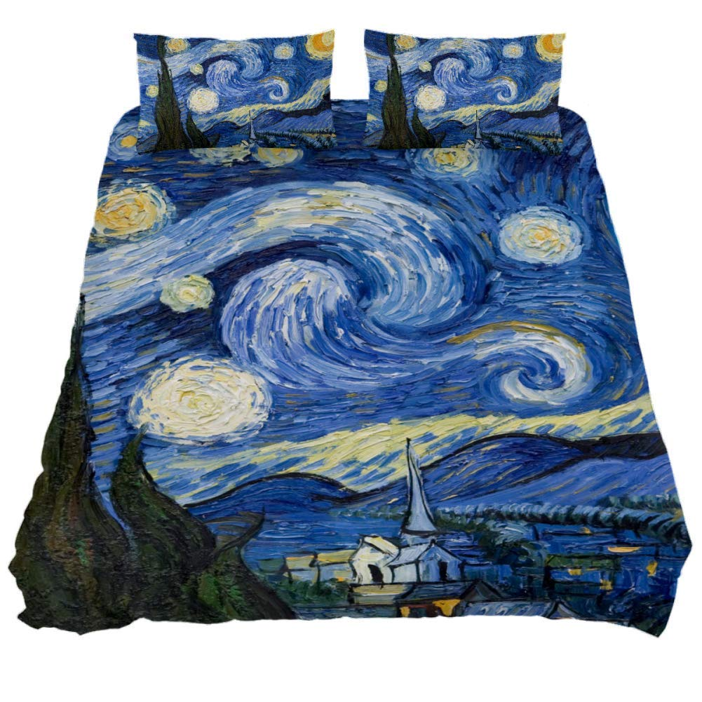 Twin Duvet Cover Set 3 Pieces Van Gogh The Starry Night Art, 59 x 79 Soft Microfiber Bedding Covers Sets with Zip Comforter Quilt Cover for Boy Girls