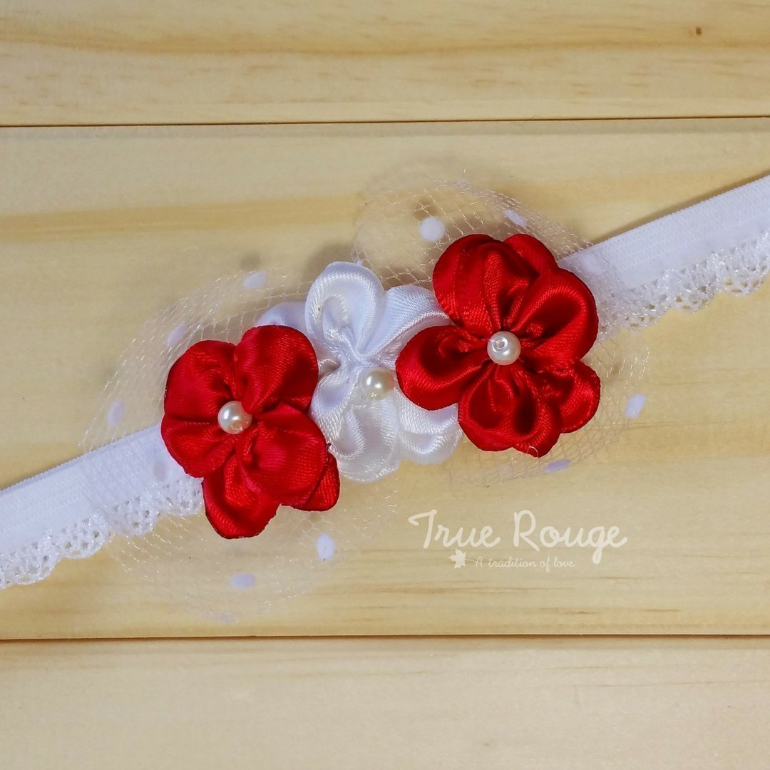 Handmade Fabric Trio Flowers Headband, Red & White by True Rouge
