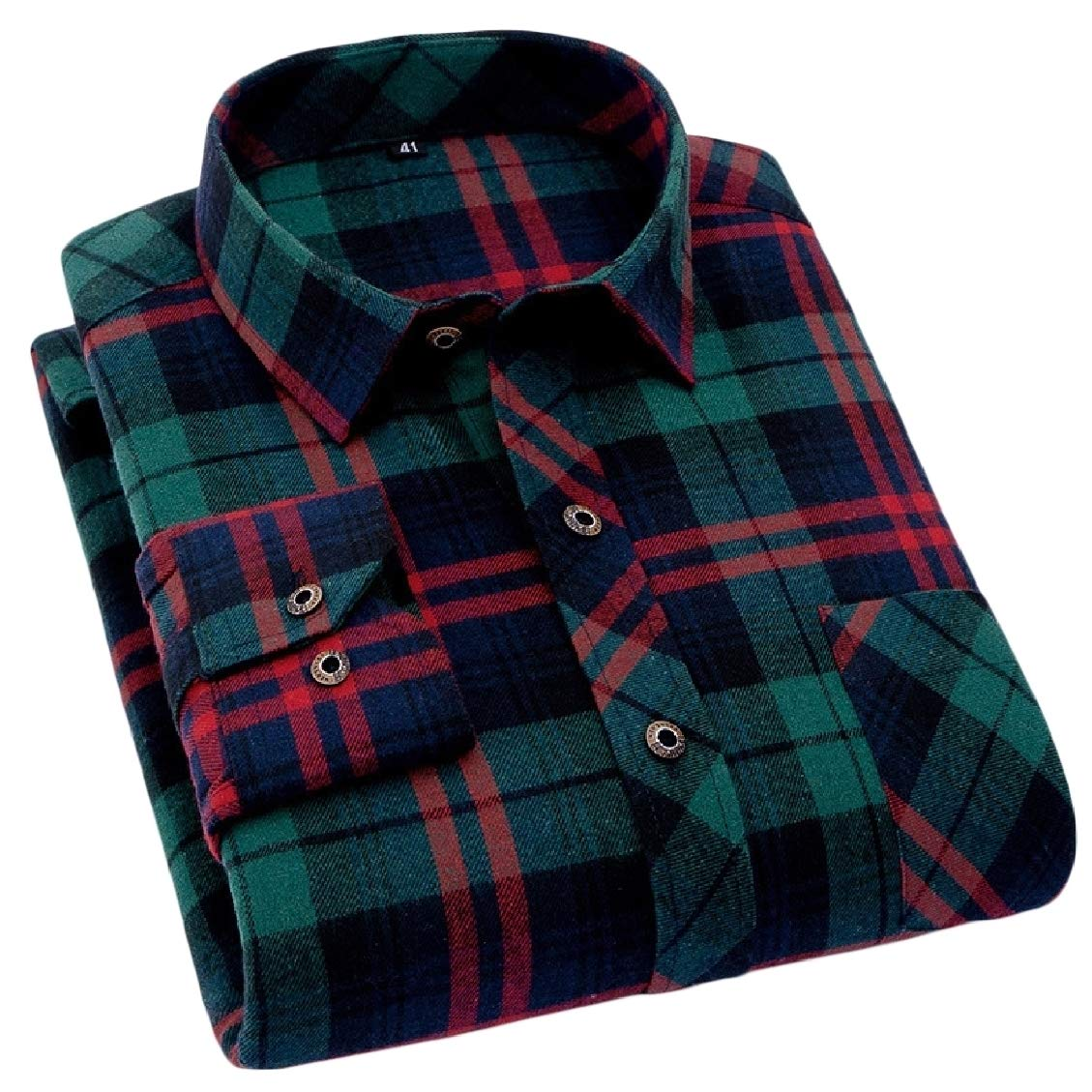 Sweatwater Mens Button-Down Fit Plaid Lapel Collar Long-Sleeve Shirt