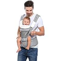 GAGAKU Portabebés con Asiento de Cadera 8 en 1 Ergonómica Mochila Porta Bebé para Recién Nacido Niños Pequeños - Gris